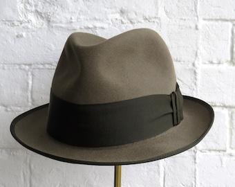 04557032368c Vintage/Borsalino/Italian/Fur/Felt/Green/Bounded/Brim/Gosgrain/Trilby/54cm