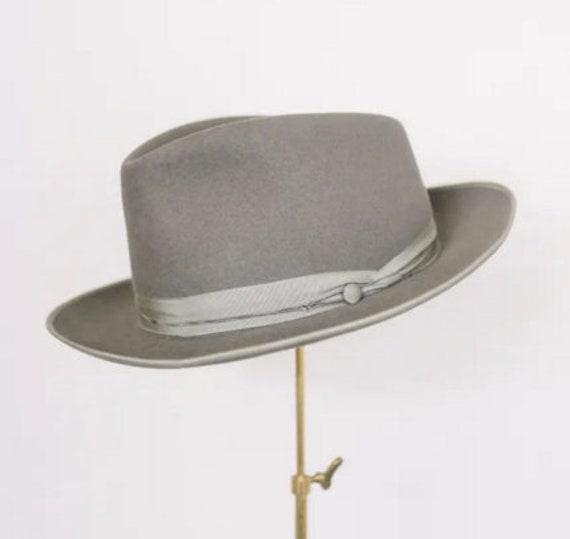 Grey Fedora 1940's Fur Felt Hat Size 56cm