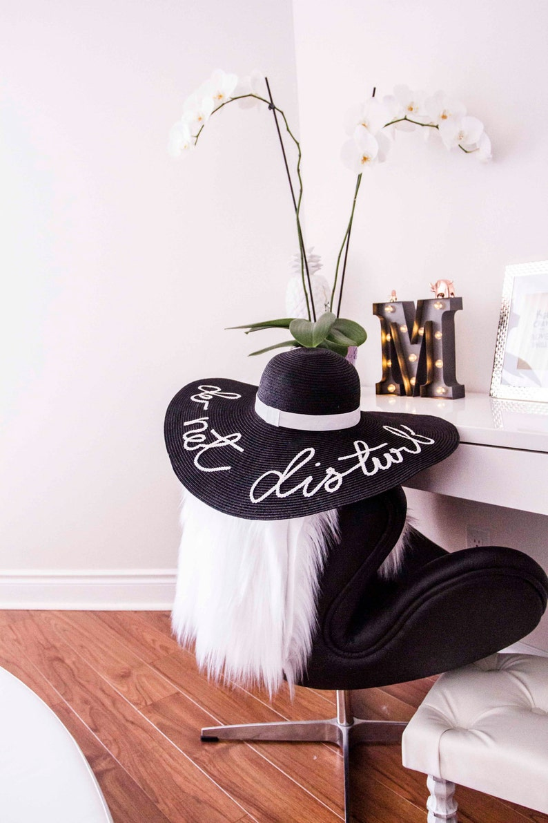 BLACK COLOUR HAT Custom Women Summer Hat Any words letter  bf14a431c91