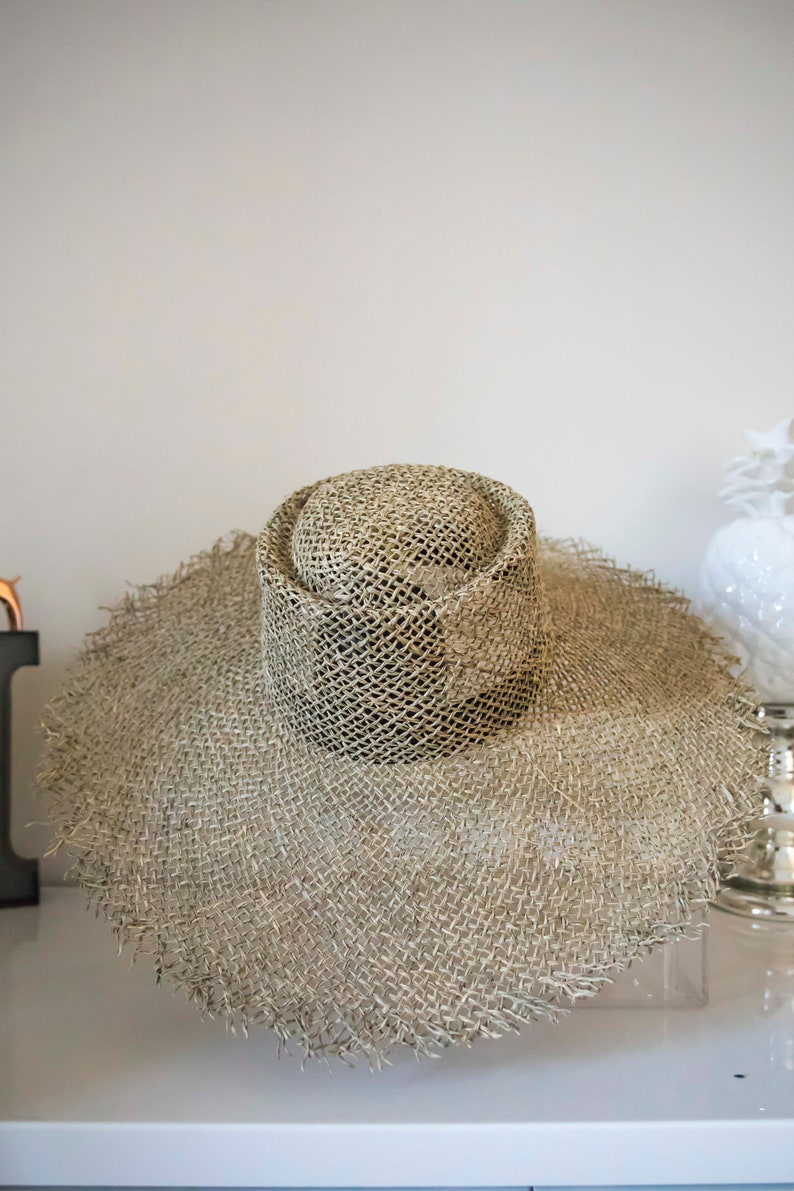 Boater crown the spencer wide brimmed Boater Lucky Fray Panama Hat natural woven style woman hat frayed edge Panmilli hat