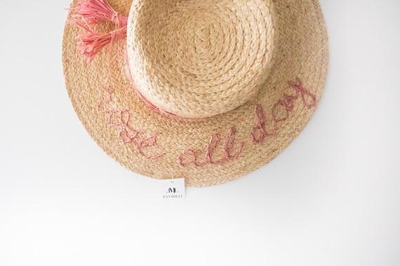 68a576df Rose all day Boater hat Panmilli Hat Rose color skimmer   Etsy