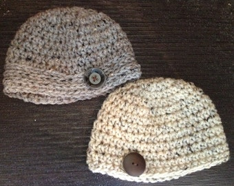 Crochet Tweed Beanie with Button Accent
