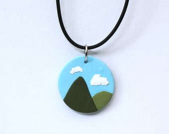 Mountain Polymer Clay Pendant nature jewellery Gift for her Made in Australia Clay jewellery Handmade Necklace