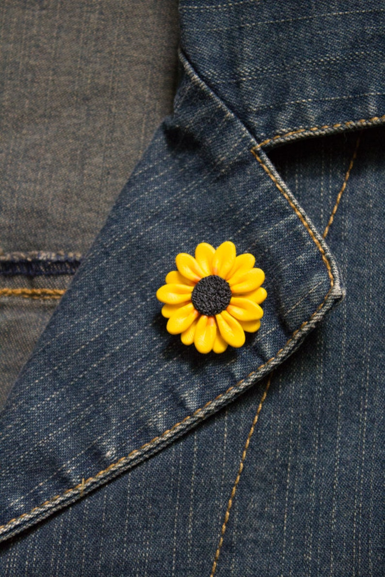 handmade polymer clay brooch Sunflower pin made in Australia flower unique gift jacket pin gift for her
