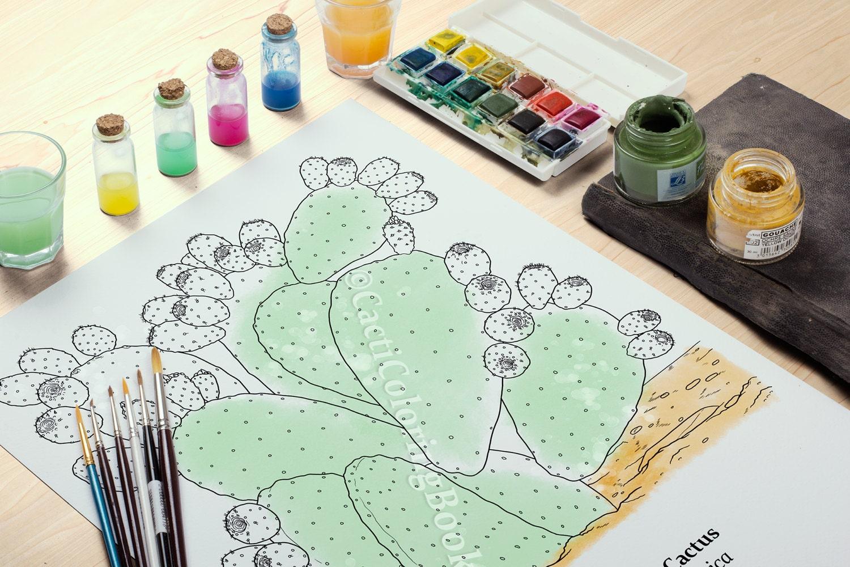 Prickly Pear Cactus Coloring Page (Digital Download PDF)