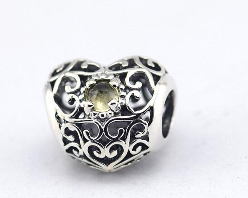 3c14d931d Pandora November Signature Heart Citrine Birthstone Charm | Etsy