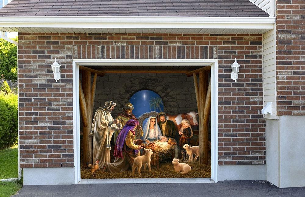 Outdoor-Dekoration Krippe Szene Garage Tür Weihnachten außen | Etsy
