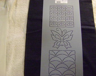 Sashiko Japanese QuiltingEmbroidery Stencil 4.25 in Wisteria Plume and Folding Fans Motif BlockQuilting and 4 in