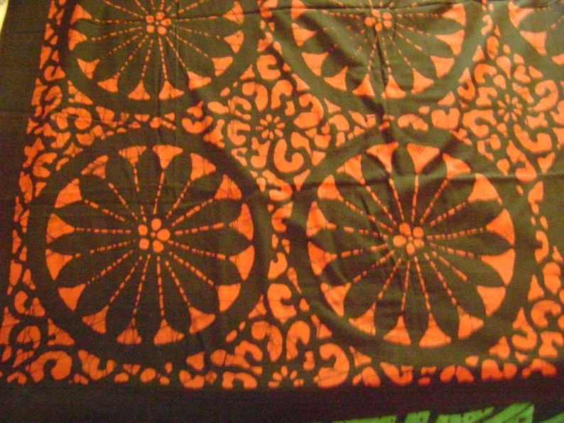 Vintage Cotton Furoshiki Large Fabric with a Orange Circles Floral MotifBlack and Crackled Orange Background Craft Supplies Wall Hangings