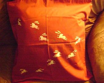Repurposed Cotton Japanese Pillow/Dancing Rabbits/Interior Decor