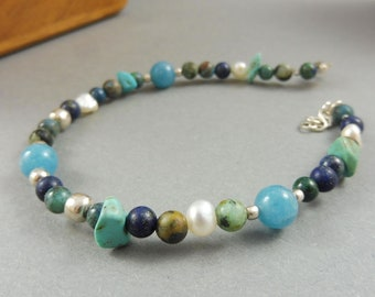 "Blue Bracelet with African Turquoise and Lapis Lazuli - ""Shallow Waters"""