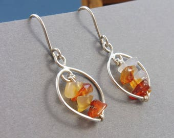 "Silver Earrings with Genuine Amber Shards - ""Autumn Dawn"""