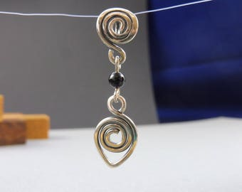 "Spiral Pendant of Silver and Onyx - ""Sorceress' Adornment"""