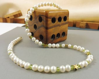 "Golden Starlet and Pearl Necklace with Peridot Gems - ""Storytime"""