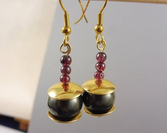 "Purple Garnet and Pearl Earrings // Black Pearl // Classy Jewelry // Jewelry Set // Gold, Purple and Black // ""Empress Gift"""