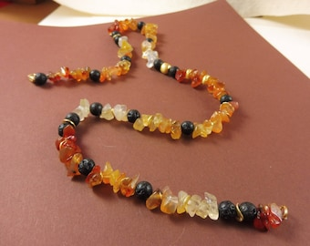 "Amber and Lava Rock Necklace - ""Earthen Glow"""