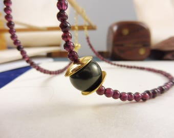 "Purple Garnet and Pearl Necklace - ""Empress' Gift"""