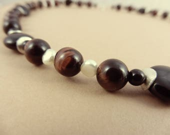 "Red Tiger Eye, Pearl & Onyx Necklace - ""Shaman Relic"""