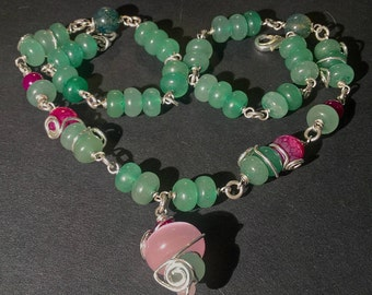 "Green Aventurine Necklace // Pink Agate Beads // Glass Beads // Floral Ornaments // Nature and Woodland Necklace // ""Forest Sprite"""