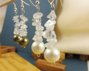 "Berg Crystal Earrings With Pearl ""Radiant Light"""