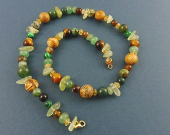 "Gemstone Necklace with Aventurine, Prehnite, Moss Agate, Jaspis, Citrine and many more - ""Persephone"""