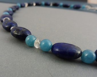 "Blue Lapis Lazuli Necklace with Blue and Rose Quartz - ""Pacific Lagoon"""