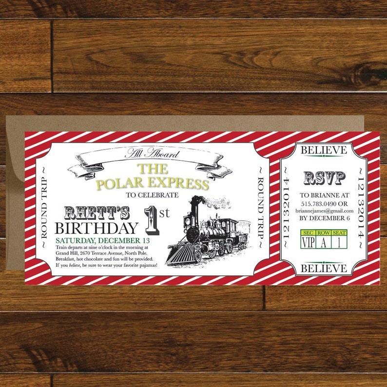 Polar Express Train Ticket Birthday Invitation Digital Download