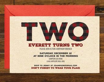 Buffalo Plaid Rustic Birthday Invitation, Digital Download