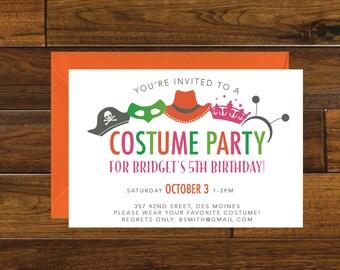 Costume Party Birthday Invitation, Digital Download