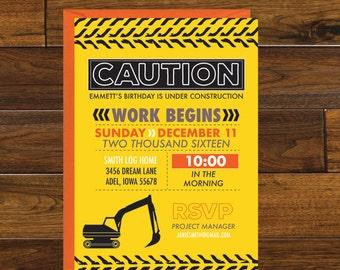 Construction Party Birthday Invitation, Digital Download
