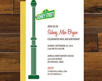 Sesame Street Birthday Invitation, Digital Download