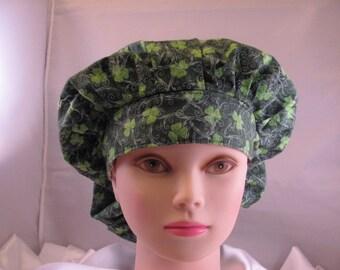 Women's Bouffant Scrub Hat Shamrocks and Swirls