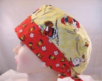 Women's Pixie Scrub Hat Peanuts Baseball