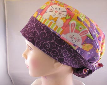 Women's Pixie Scrub Hat Easter Bunny