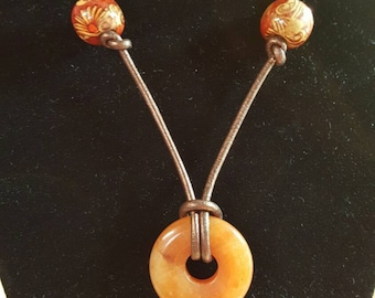 Red Aventurine Donut with Wood Beads and leather cord