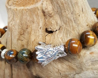 """Unisex 9"""" Tiger eye and silverplated Dragon Head with silverplated spacer discs."""