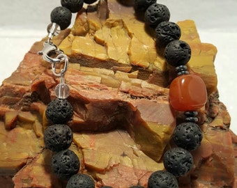 Unisex Lava and Carnelian bracelet