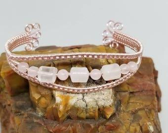 Pretty in Pink Rose Quartz Cuff Bracelet