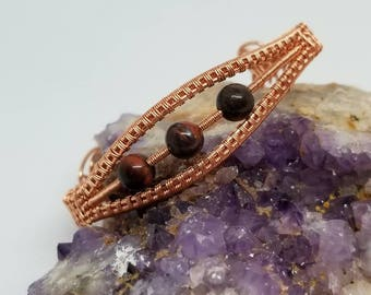 Red Tiger Eye and Copper cuff bracelet