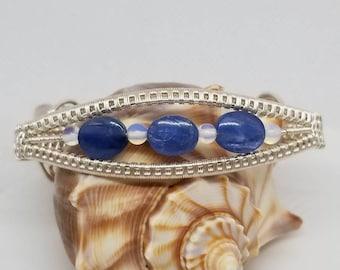 Blue Kyanite, Moonstones set in silver plated wire.