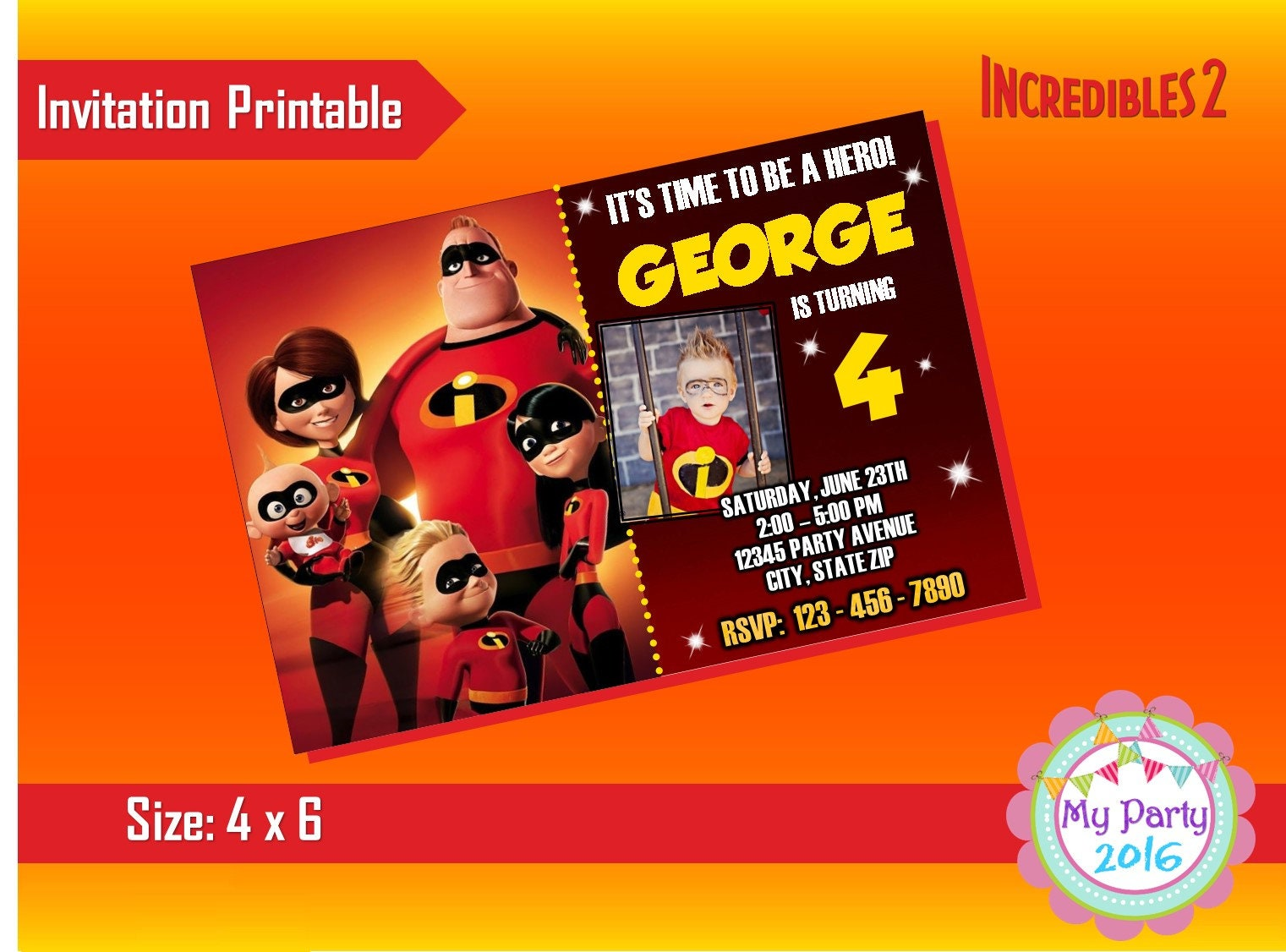 The Incredibles 2 Birthday Party Invitation with Photo | Etsy