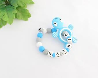 Personalized turtle teething rattle, NATHEO silicone beads