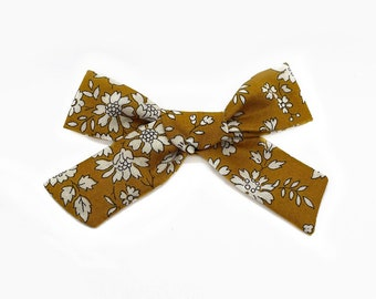 Liberty Baby Bow, Floral Schoolgirl Bow, Mustard Capel