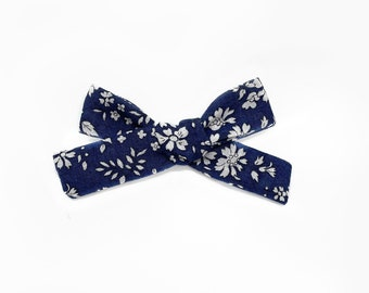 Liberty Baby Bow, Floral Print Schoolgirl Bow, Navy Capel