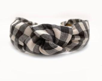 Knot Headband for Women, Fall Headband, Black Plaid Headband