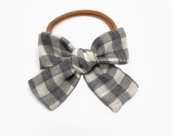 Gingham Bow, Grey Check Oversized Bow, Plaid Bow, Buffalo Check Bow
