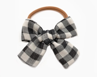 Gingham Bow, Black Check Oversized Bow, Plaid Bow, Buffalo Check Bow