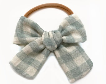 Gingham Bow, Mint Check Oversized Bow, Plaid Bow, Buffalo Check Bow