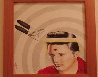 3 Eyed Elvis- Folk art, Outsider Art, Handmade, Original, Framed, Acrylic Painting