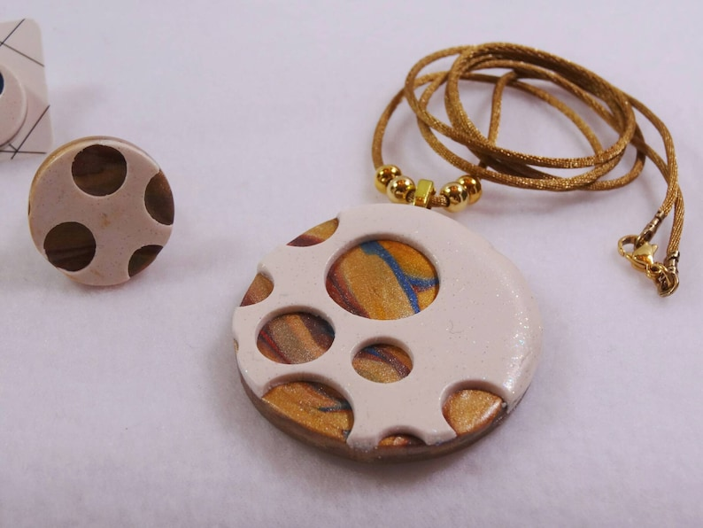 blue modern white ring planet earrings copper. gold gold and silver stainless steel polymer one Set pendant necklace